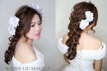 日系新娘婚紗鮮花造型