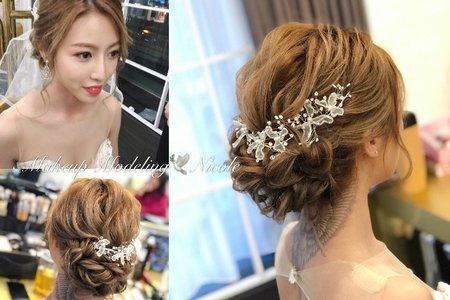 輕線條盤髮(聿蓁)白紗造型