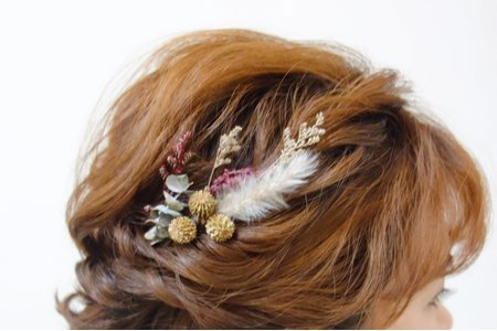 短髮盤髮+乾燥花