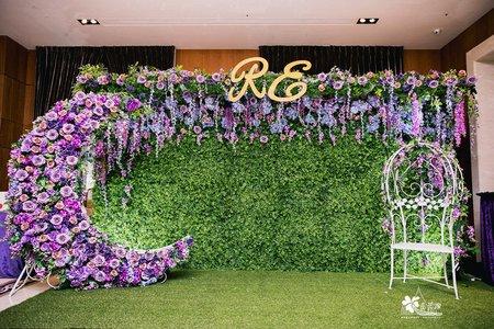 新北富信婚佈 綠植牆紫色系立體垂吊背板
