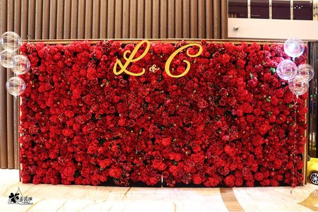 新莊典華婚佈 立體紅花牆背板