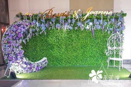 萬豪酒店婚佈 綠植牆紫色系垂吊