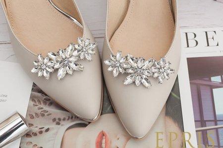 彎彎三朵小花水鑽飾扣鞋扣-EPRIS艾佩絲