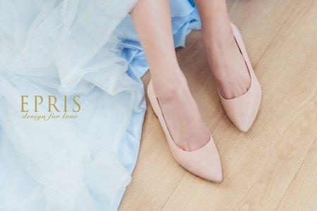線條紋方跟鞋-EPRIS艾佩絲