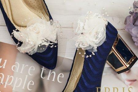 復古典雅蕾絲花飾扣鞋夾-EPRIS艾佩絲