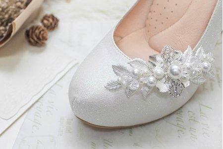 銀白花冠水鑽珍珠鞋扣鞋夾-EPRIS艾佩絲