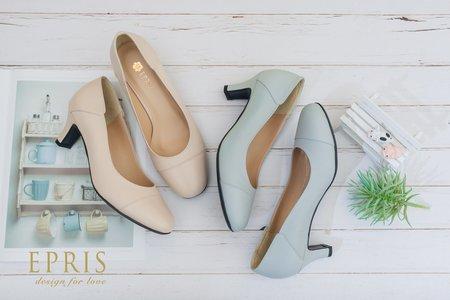 寬腳女孩推薦 圓頭拼接跟鞋-EPRIS艾佩絲
