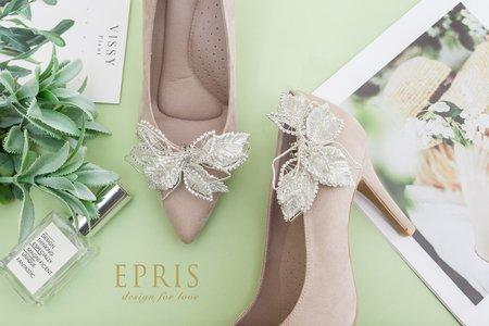甜美的幸福 銀葉蝴蝶飾扣鞋夾-EPRIS艾佩絲