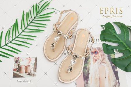 沙灘婚禮推薦 氣質水鑽夾腳涼鞋-EPRIS艾佩絲