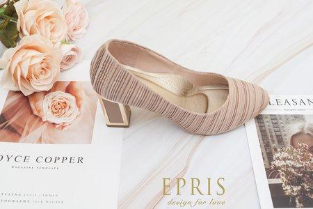 花卉公主 特殊立體皺折尖頭方跟鞋-EPRIS艾佩絲