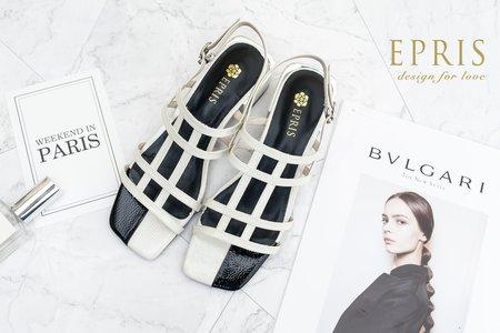 黑白方格涼鞋 歐美復古方頭撞色涼鞋-EPRIS艾佩絲
