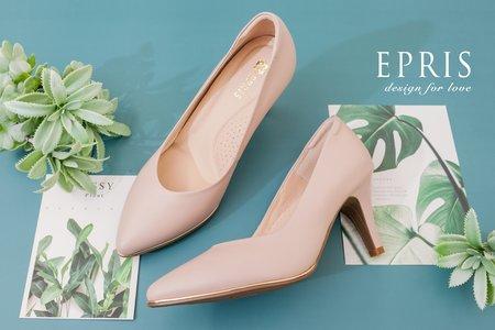 大腳女孩首選 純粹女神 甜美粉色尖頭素面婚鞋-EPRIS艾佩絲