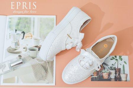 閃亮亮蝴蝶緞帶小白鞋-EPRIS艾佩絲