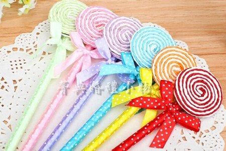 婚禮小物-可愛扁扁圓形棒棒糖原子筆