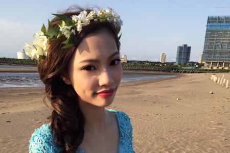 婚紗外拍-仿真花冠森林系歐美風隨性編髮