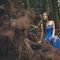 乾燥花 復古蕾絲 藍色晚禮服 新娘超美 老公很帥(編號:51460)