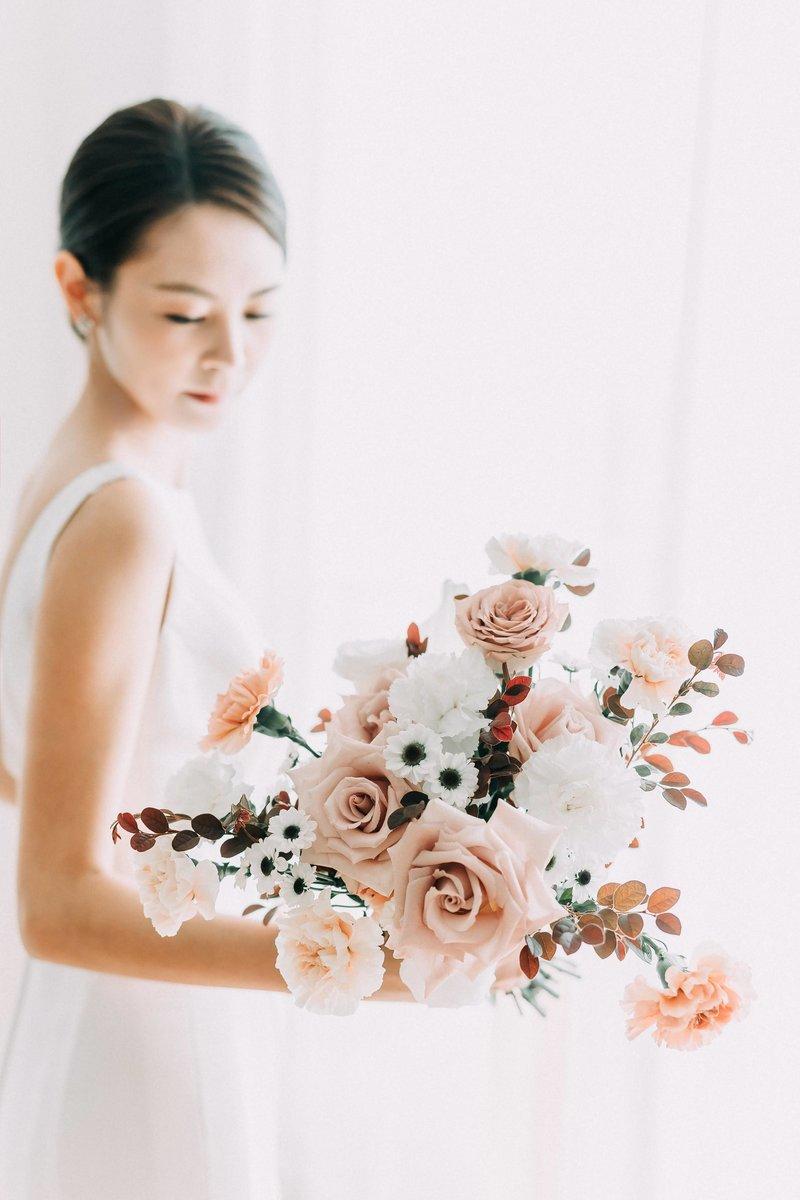 美式清透新娘造型服務,贈送歐式空氣感捧花作品