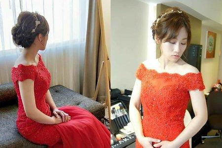 文定紅禮服編髮自然妝感造型