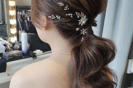 韓系美人魚捲髮低馬尾