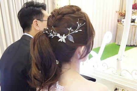 [my bride] 中·低·側編馬尾