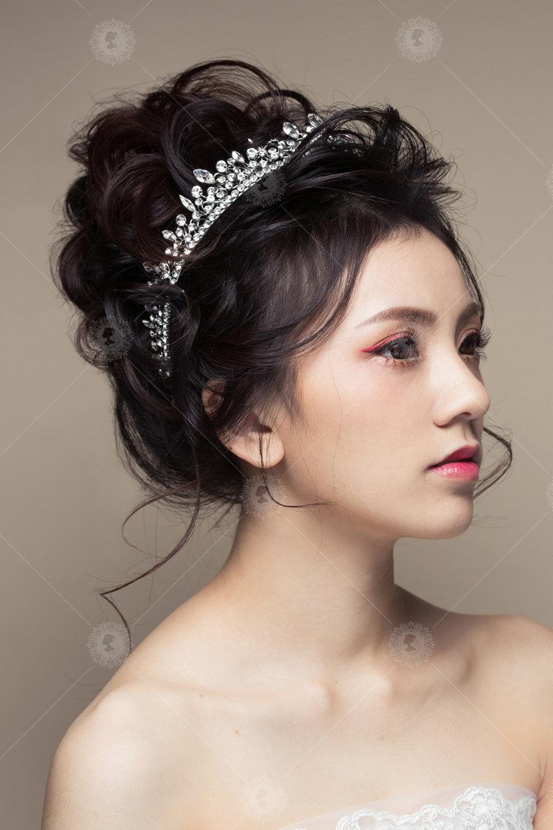 黑髮、新秘、妝髮、自然、盤髮、公主風