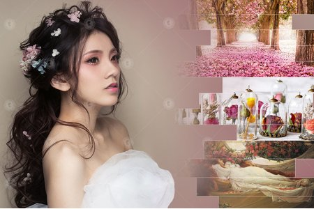 甜美/浪漫/敬酒/送客【加冕大典】極緻光裸肌/耀眼春桃眼妝/自然蓬鬆花苞頭