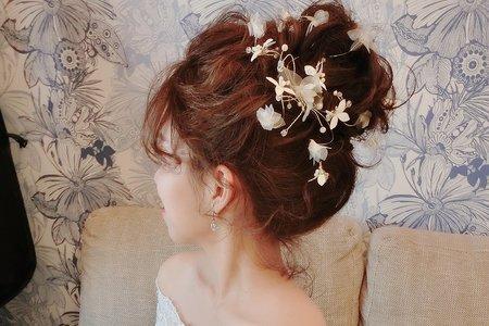 浪漫仙女高盤髮+花系低馬尾