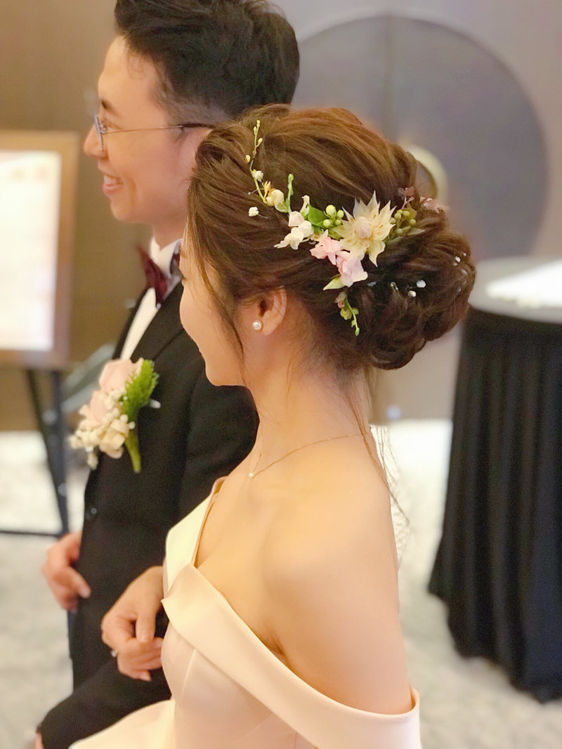新娘造型,新秘,乾燥花,鮮花,髮型