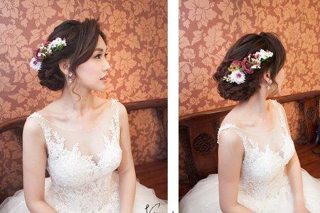 【bride】 不變的愛~桔梗花!高質感的白紗進場造型