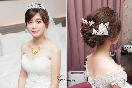 【bride】 經典盤髮!清新氣質的浪漫白紗造型