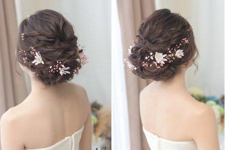 [新娘髮型] 春季發表~粉紅浪漫鮮花造型