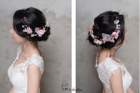 不凋花乾燥花的浪漫組合!自然垂落髮絲的微慵懶盤髮
