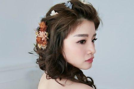 Lillian新秘工作室-短髮新娘+韓風素雅包頭+乾燥花編髮