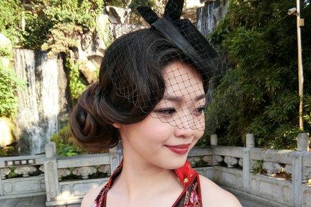 Lillian新秘工作室-森林系盤髮+復古旗袍紗帽