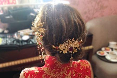 青青格麗絲-女神側邊髮 旗袍盤髮 公主緞帶編髮