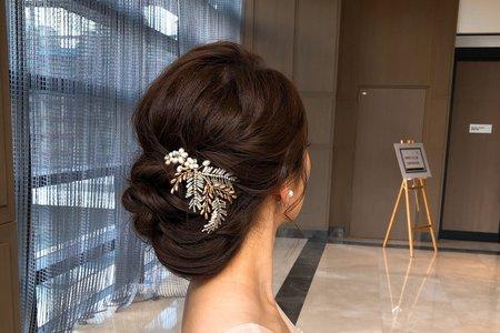 文定訂婚/韓風造型/氣質/優雅盤髮/線條盤髮/低馬尾/清新自然-萬豪酒店