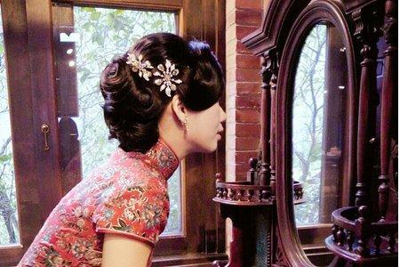 書香氣息的南園加上兩套旗袍很復古風/亞慧宴客彩妝造型紀錄