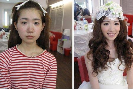 化妝前化妝後