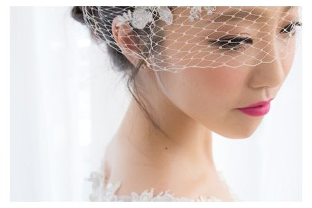 時尚蕾絲白紗