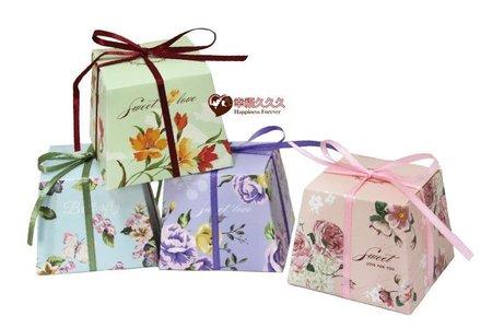 花布梯形喜糖盒