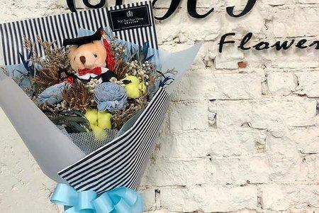 藍色系熊熊乾燥花花束