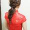 紅蕾絲旗袍,低盤氣質馬尾,意珊,基隆自宅(編號:305443)