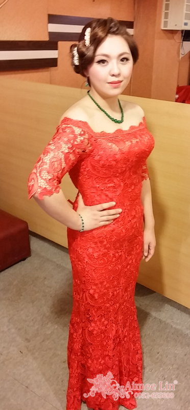 紅蕾絲旗袍禮服.復古指推波.送客(編號:418869) - 新秘愛咪Aimee Makeup《結婚吧》