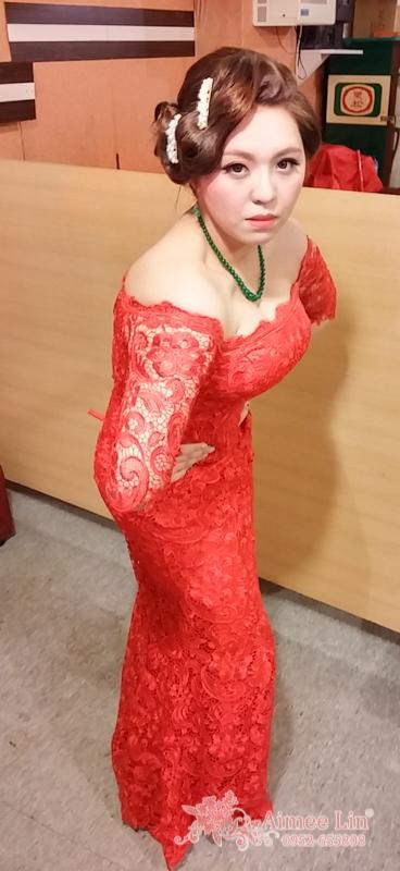 紅蕾絲旗袍禮服.復古指推波.送客(編號:418880) - 新秘愛咪Aimee Makeup《結婚吧》