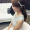 嬰兒粉鑲鑽雪紡紗_韓式低馬尾_魚兒(編號:419172)