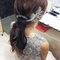 嬰兒粉鑲鑽雪紡紗_韓式低馬尾_魚兒(編號:419244)