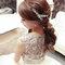嬰兒粉鑲鑽雪紡紗_韓式低馬尾_魚兒(編號:419314)