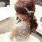 嬰兒粉鑲鑽雪紡紗_韓式低馬尾_魚兒(編號:419319)