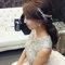 嬰兒粉鑲鑽雪紡紗_韓式低馬尾_魚兒(編號:419325)