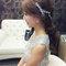 嬰兒粉鑲鑽雪紡紗_韓式低馬尾_魚兒(編號:419331)